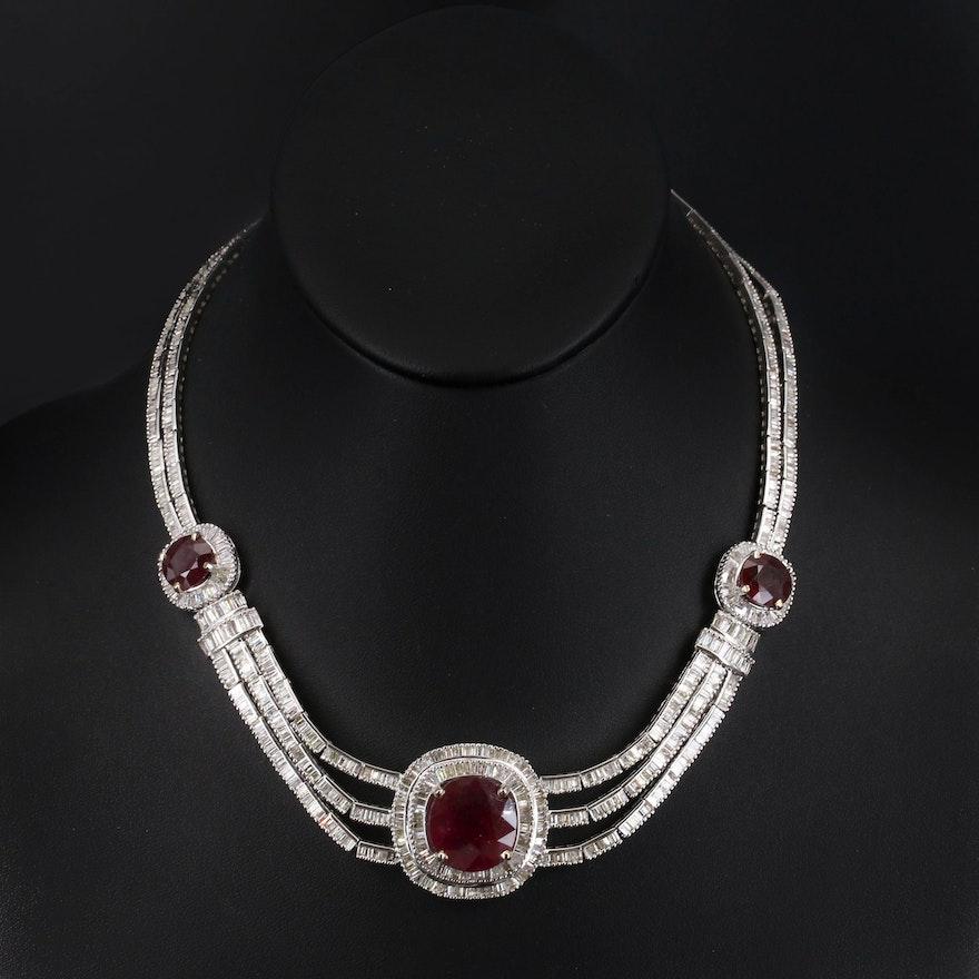 18K Corundum and 19.44 CTW Diamond Festoon Necklace