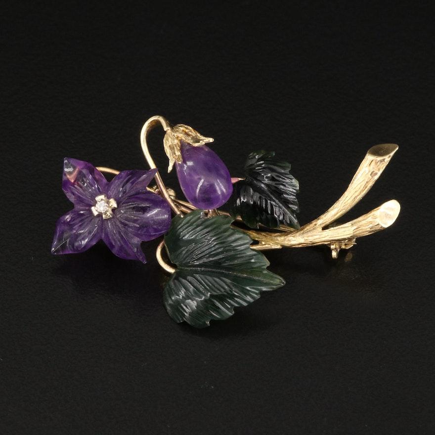1920s Austrian Richard Wild 14K Amethyst, Nephrite and Diamond Violet Brooch