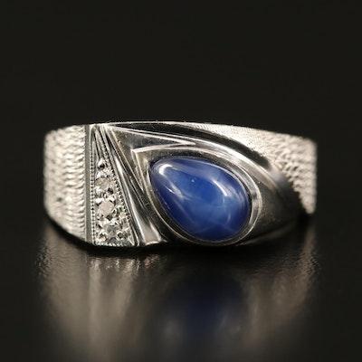 Vintage 10K Sapphire and Diamond Ring