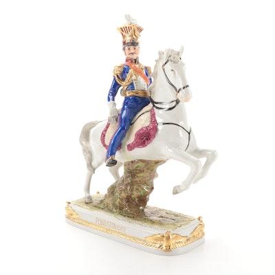 """German Scheibe-Alsbach """"Poniatowski"""" Mounted Soldier Porcelain Figurine"""