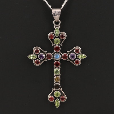 Sterling Silver Garnet, Peridot and Citrine Cross Pendant Necklace