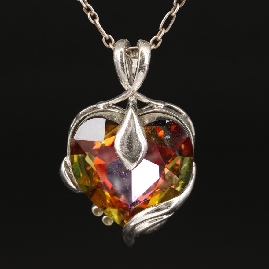 Eric Andrew Sterling Necklace with Rhinestone Pendant