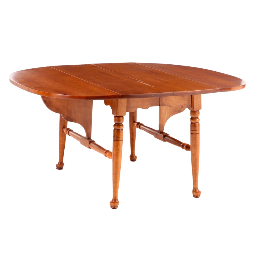 Heywood-Wakefield Queen Anne Style Maple Extending Dining Table with Drop Leaves