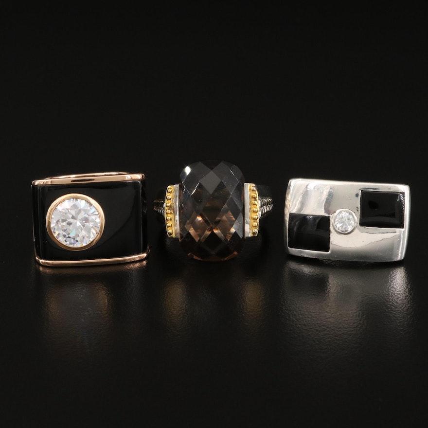 Sterling Silver Smoky Quartz, Cubic Zirconia and Enamel Rings