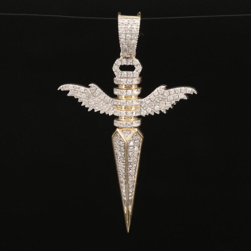 10K Diamond Winged Knife Pendant