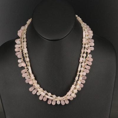 Sterling Rose Quartz and Rock Crystal Quartz Triple Strand Necklace