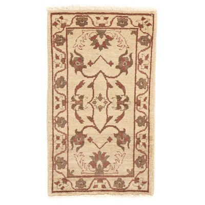 1'10 x 3'4 Hand-Knotted Afghan Turkish Oushak Rug, 2010s