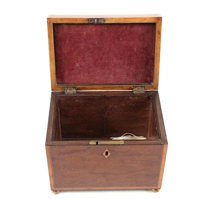 Mahogany and Fruitwood Inlay Box with Key, 19th Century