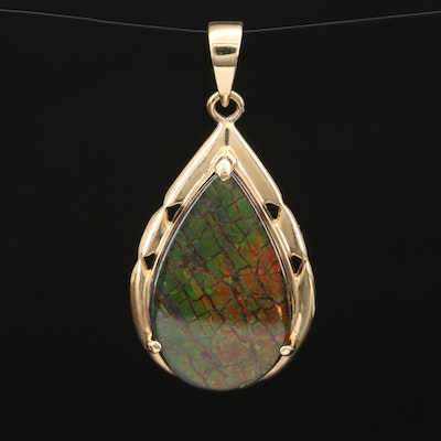14K Ammolite and Spinel Doublet Drop Pendant
