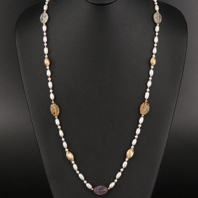 Pearl, Amethyst and Citrine Necklace