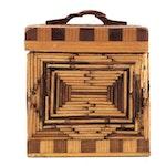Folk Art Tramp Art Matchstick Box, Early to Mid 20th Century