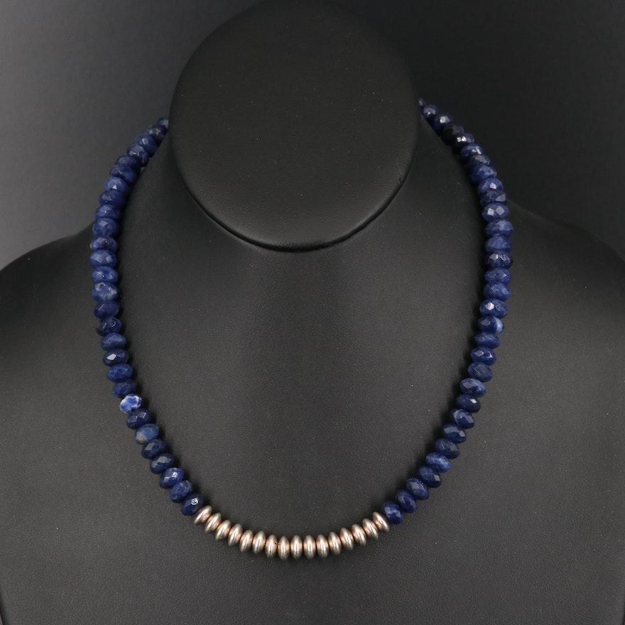Sterling Silver Quartz Bead Necklace