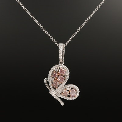 18K 1.08 CTW Pink Diamond and Diamond Butterfly Necklace