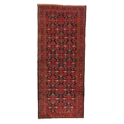 4'2 x 10'2 Hand-Knotted Persian Malayer Long Rug, 1940s