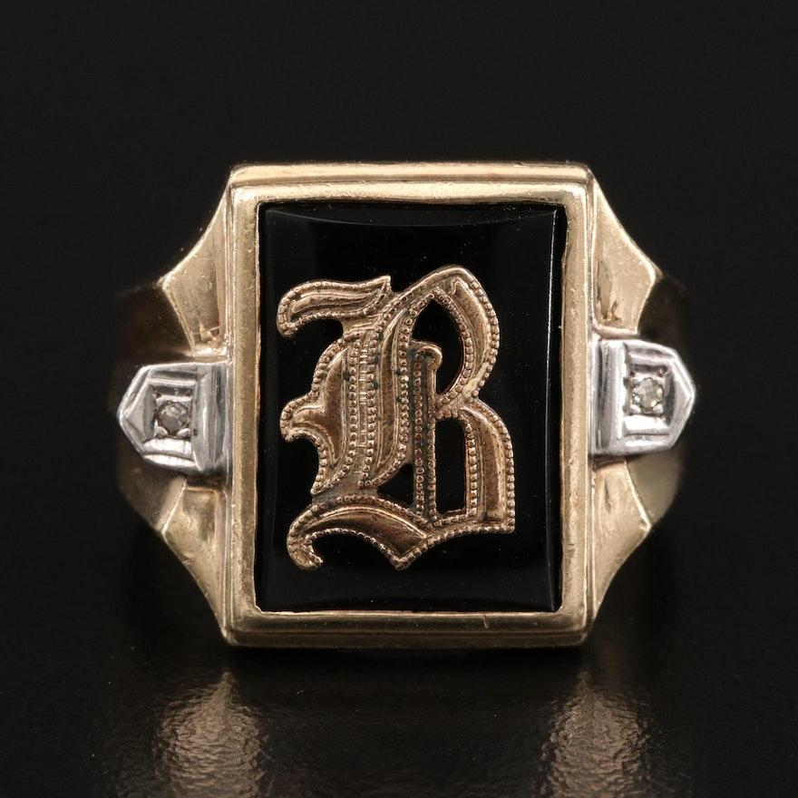 "Vintage Rothman and Schneider 10K Black Onyx and Diamond ""B"" Signet Ring"