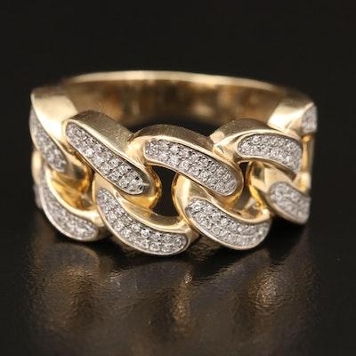 10K Diamond Curb Link Band