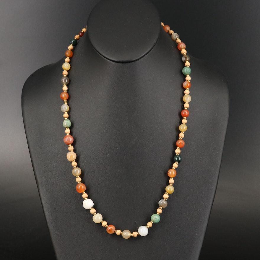 Gemstone and Wood Bead Necklace with Agate and Jasper