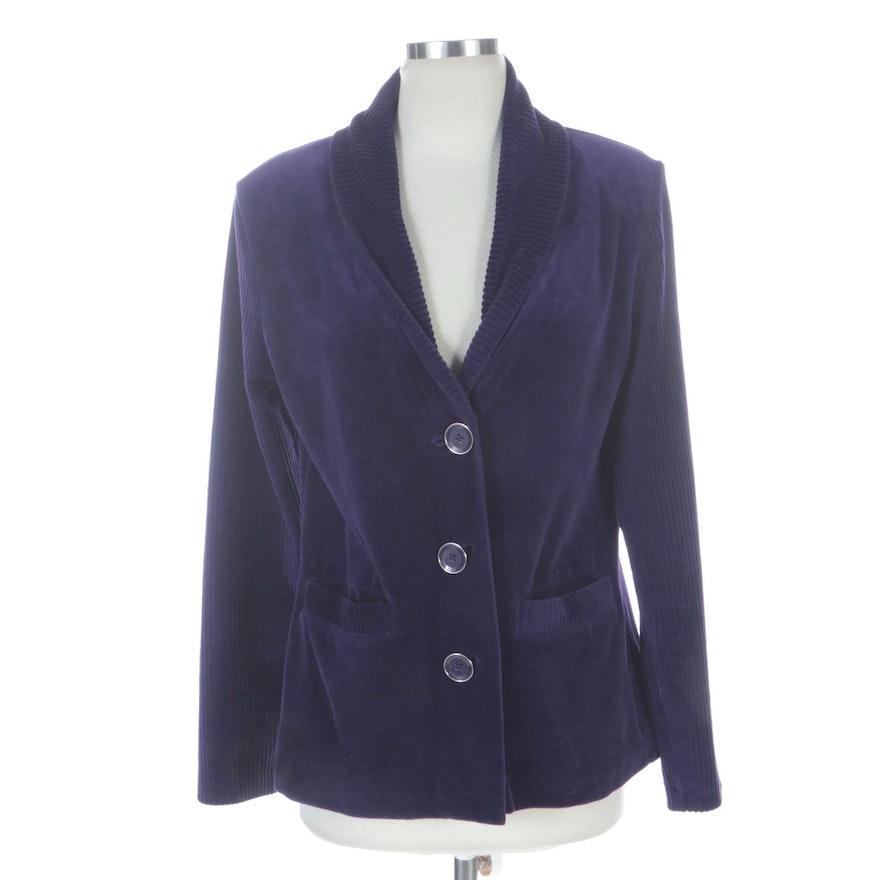 Jones New York Signature Purple Velour Jacket