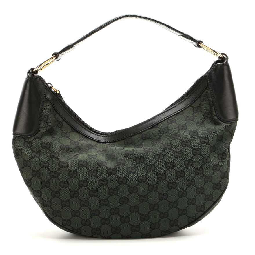 Gucci Half Moon Hobo Bag in GG Canvas and Black Leather