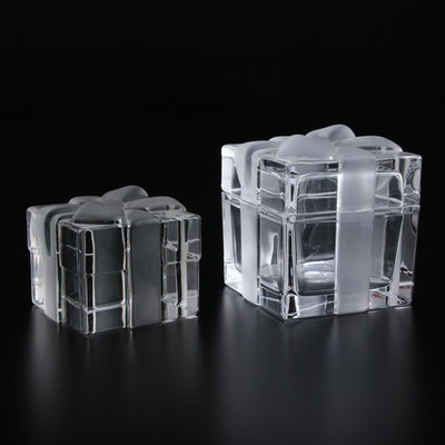 """Tiffany & Co. """"Gift Box with Bow"""" Crystal Paperweight and Lidded Box"""