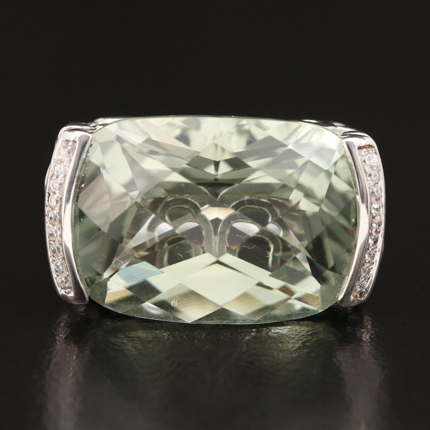 Sterling Prasiolite and Cubic Zirconia East-West Ring