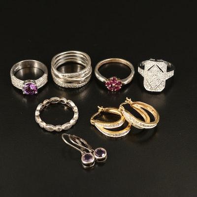 Sterling Gemstone Earrings and Rings Featuring Pandora