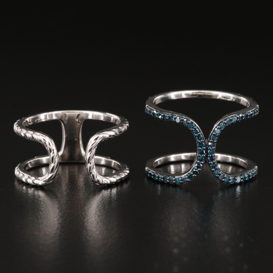 Sterling Silver Blue Diamond Openwork Rings