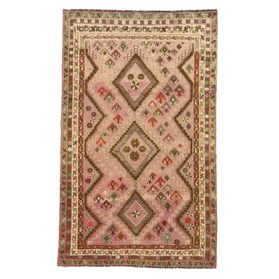 4'10 x 8' Hand-Knotted Persian Gabbeh Rug, 1930s