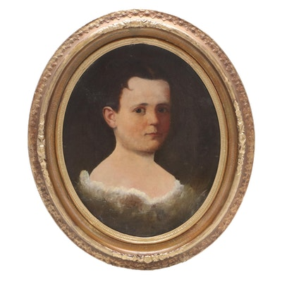 American School Portrait Oil Painting, Mid-Late 19th Century