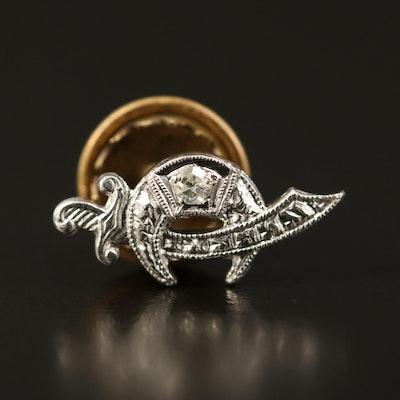 Vintage Platinum Diamond Shriner Pin