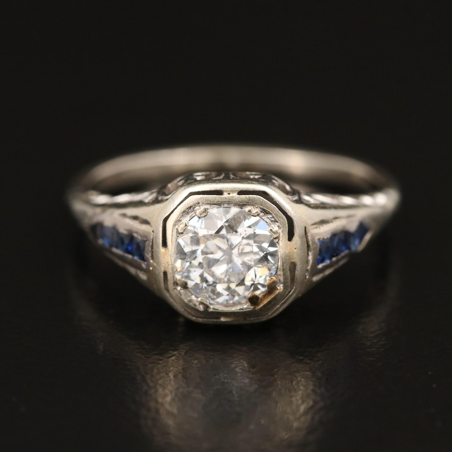 Vintage 18K Diamond and Sapphire Ring with 14K Shank