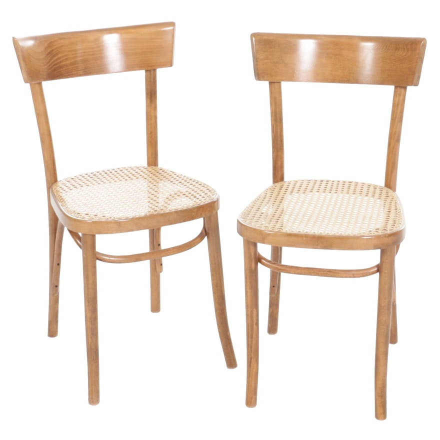 Pair of Thonet Style FMG Bentwood and Cane Chairs, 20th Century