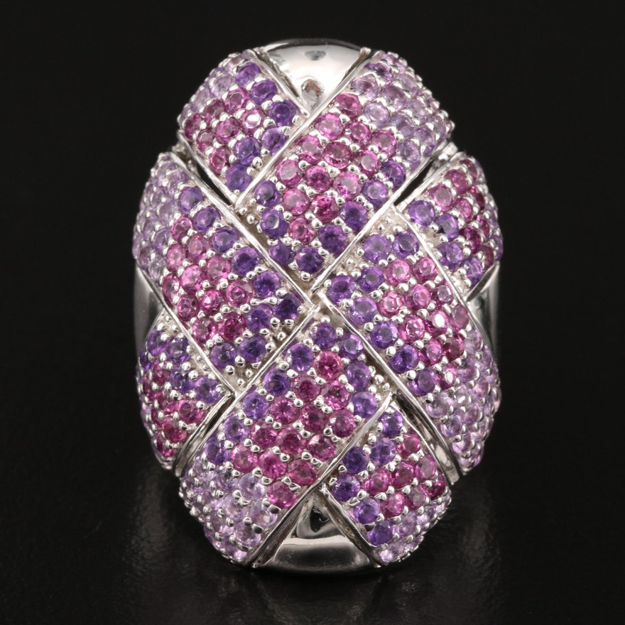 Sterling Silver Pavé Amethyst and Rhodolite Garnet Woven Ring