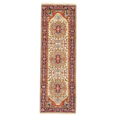 2'7 x 8' Hand-Knotted Indo-Persian Serapi Carpet Runner, 2010s