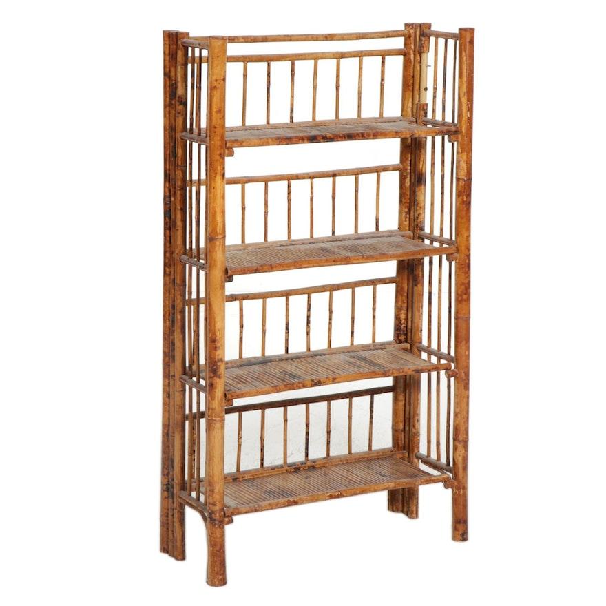 Bamboo Four-Shelf Bookcase, Late 20th Century