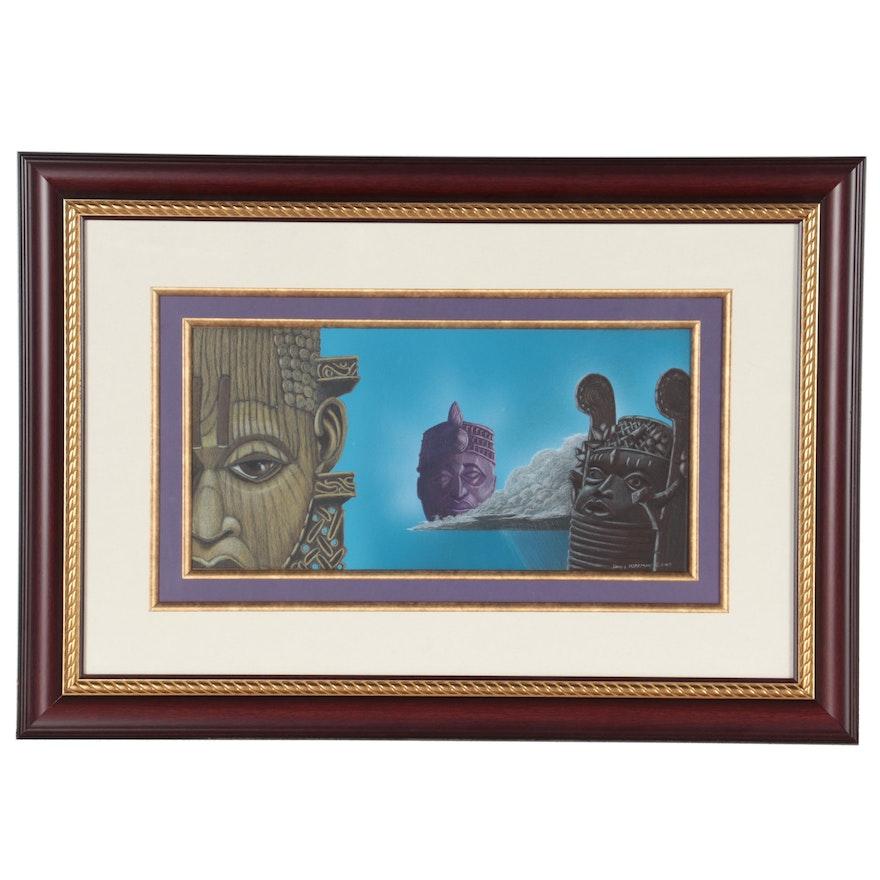 David L. Morrison Pastel Drawing of Benin Sculpture, 2003