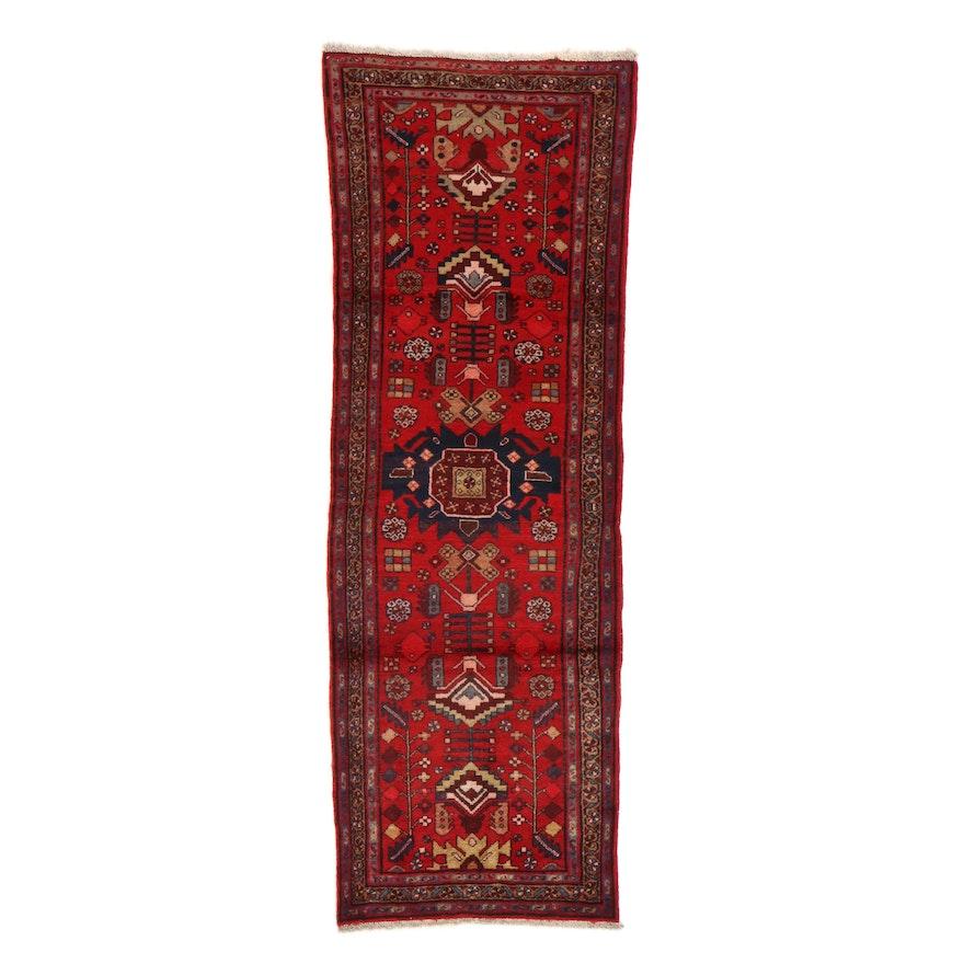 3' x 9'2 Hand-Knotted Persian Zanjan Carpet Runner, 1960s