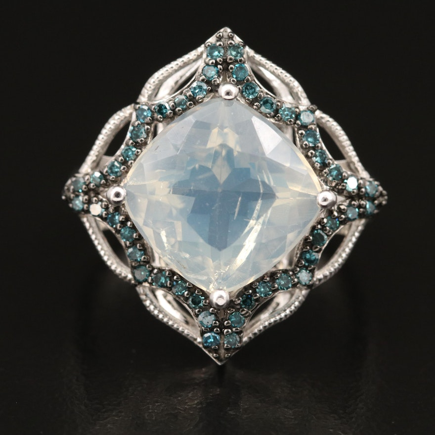 Sterling Common Opal and Diamond Ring