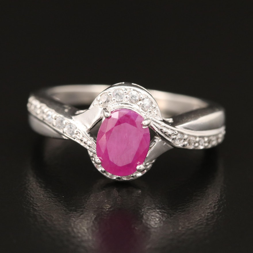 Sterling Corundum and Zircon Ring