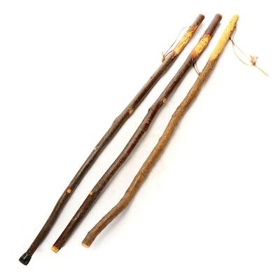 Folk Art Figural Carved Wood Walking Sticks