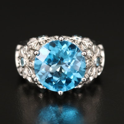 Sterling Silver Topaz and Zircon Ring