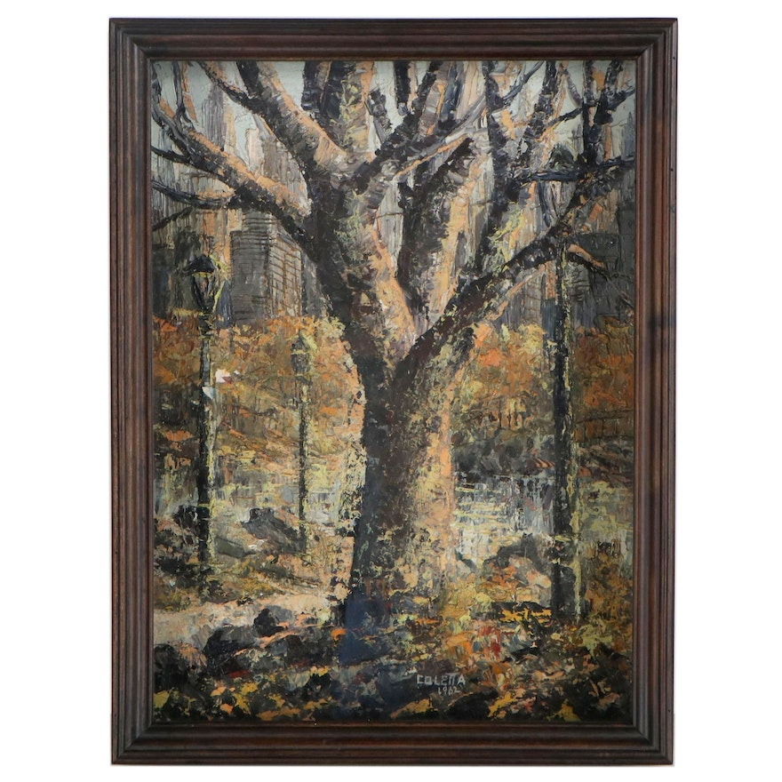 Impressionist Style Landscape Oil Painting of Barren Tree, 1962