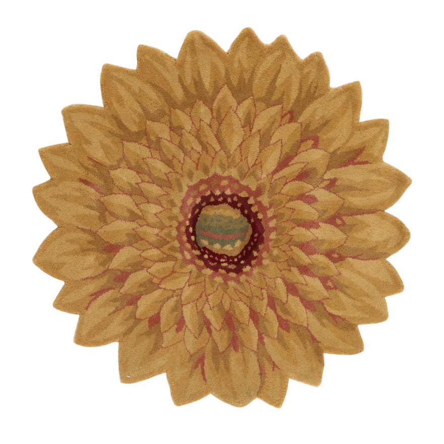 4' Round Hand-Tufted Indian Marigold Shaped Rug, 2010s