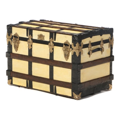 Late Victorian Metal-Mounted, Slatted Wood, and Canvas-Lined Steamer Trunk