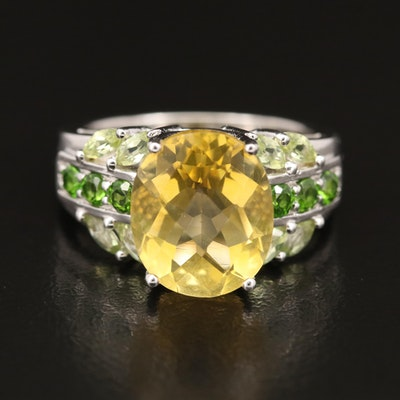 Sterling Fluorite, Diopside and Peridot Ring