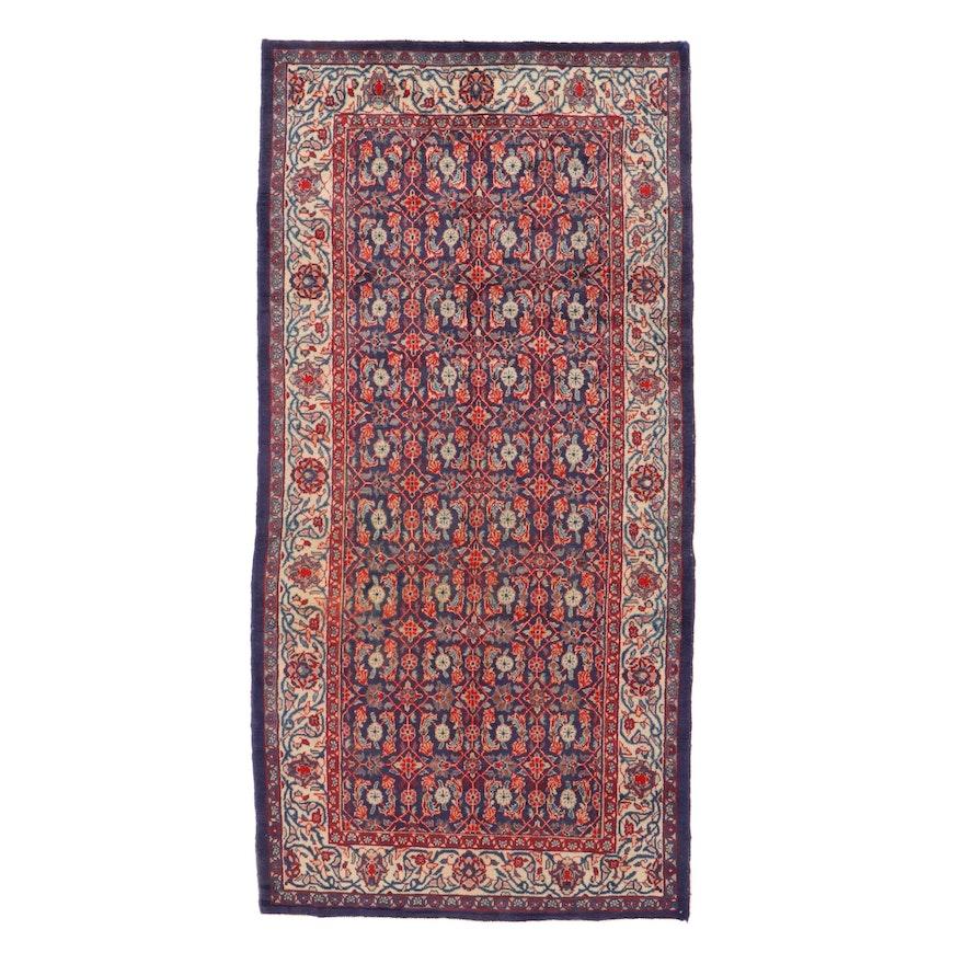 5'6 x 11'3 Hand-Kotted Persian Mahal Rug, 1960s