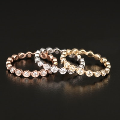 Tri-Color 14K 1.12 CTW Diamond Stacking Milgrain Bands