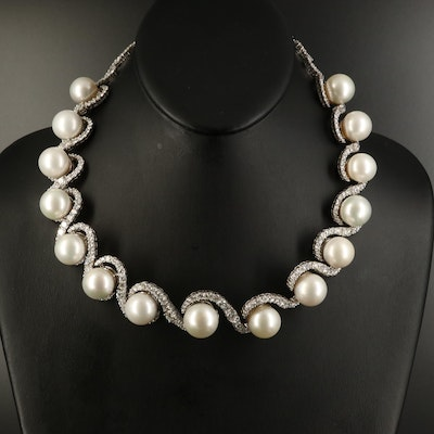 18K South Sea Pearl and 22.45 CTW Diamond Necklace
