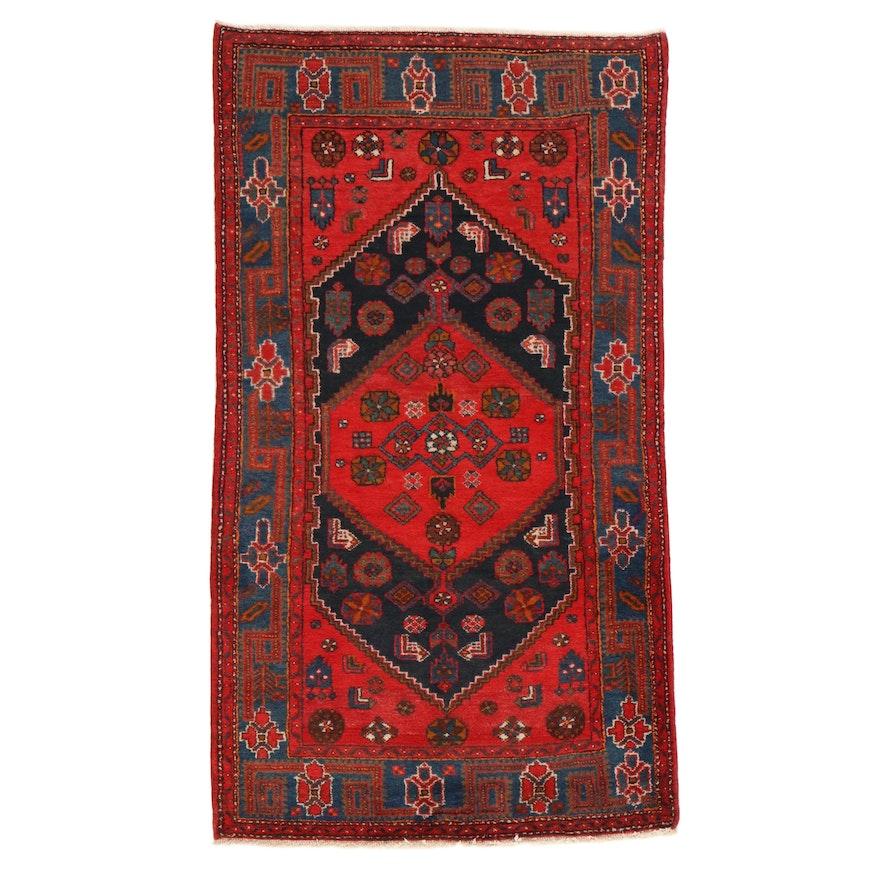4'3 x 7'10 Hand-Knotted Persian Zanjan Rug, 1940s