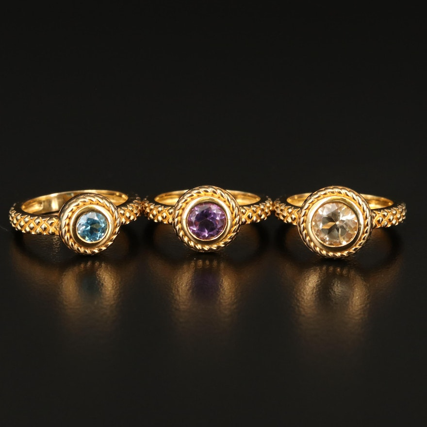 Sterling Silver Amethyst, Topaz and Citrine Rings